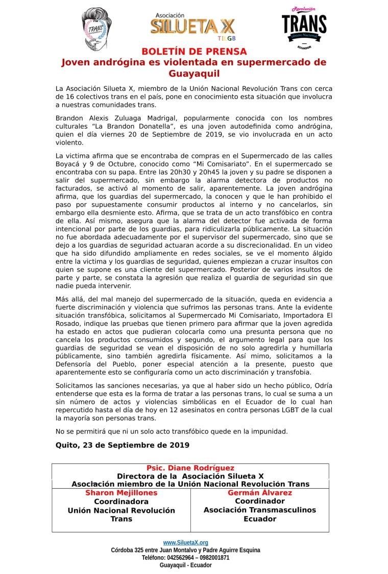Boletín de Prensa - Joven andrógina es violentada en supermercado de Guayaquil-1