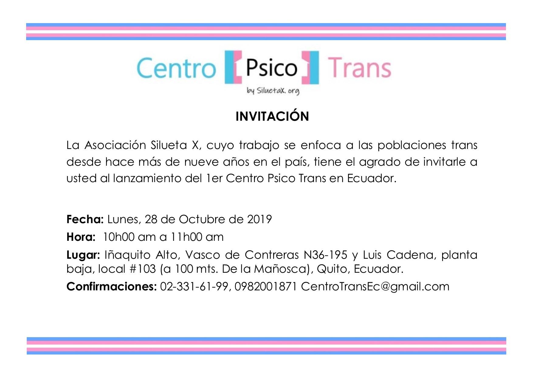 Invitación General al lanzamiento Centro Psico Trans en Ecuador