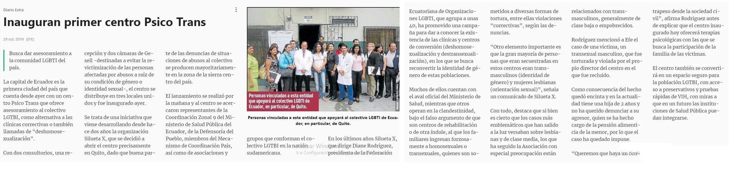 Reportaje de diario El Extra - Inauguran primer Centro psico Trans en Ecuador - Asociación Silueta X