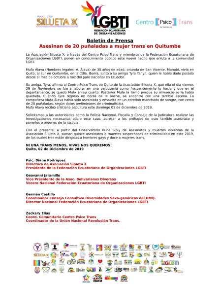 Asesinan de 20 puñaladas a mujer trans en Quitumbe - Asociación Silueta X - Federación Ecuatoriana de Organizaciones LGBTI-1