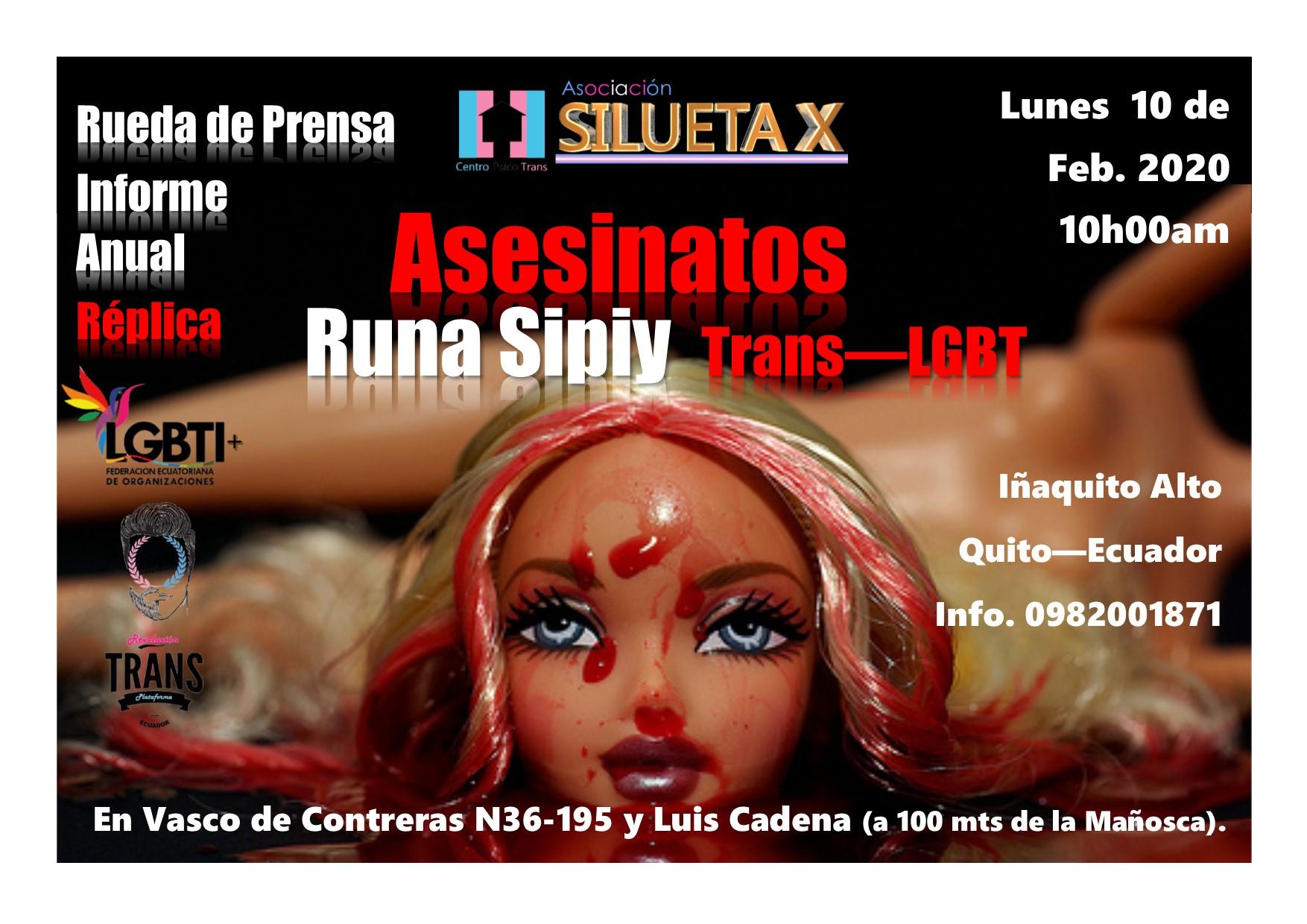 Flyer presentación informe Runa Sipiy Quito - Asesinatos Trans LGBT - Centro Psico Trans Asociación Silueta X